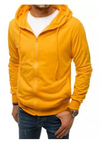 Pánská zapínaná mikina s kapucí ve žluté barvě