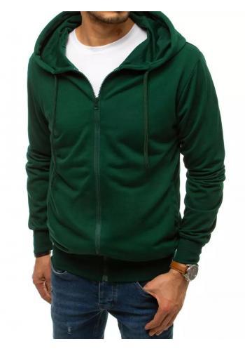 Zapínaná pánská mikina zelené barvy s kapucí
