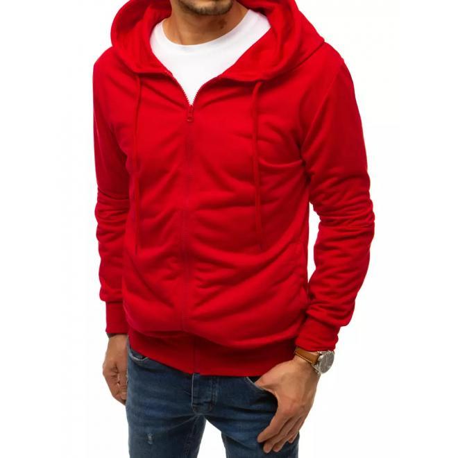 Červená zapínaná mikina s kapucí pro pány