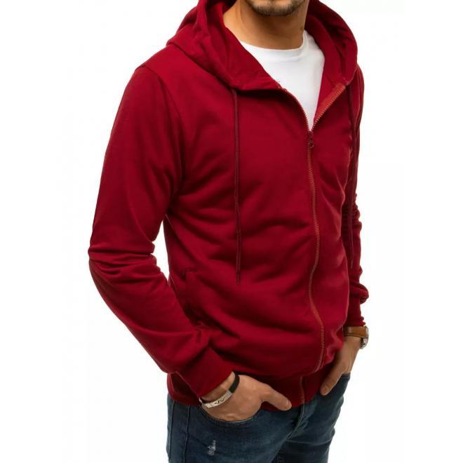Pánské mikiny na zip s kapucí v bordové barvě