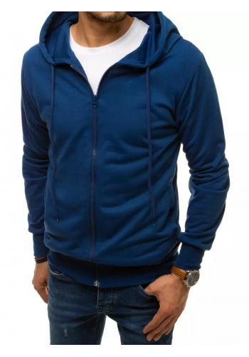 Zapínaná pánská mikina modré barvy s kapucí