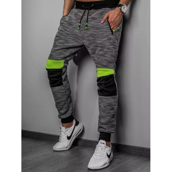 Stylové pánské tepláky tmavě šedé barvy s vložkami na kolenou
