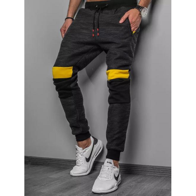 Černé stylové tepláky s vložkami na kolenou pro pány