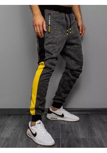 Pánské módní tepláky s kontrastními vložkami v tmavě šedé barvě