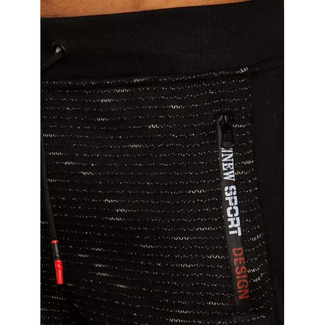 Módní pánské tepláky černé barvy s kontrastními vložkami