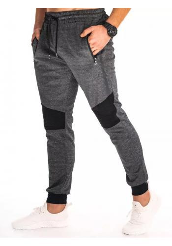 Pánské klasické tepláky s nášivkami na kolenou v černé barvě