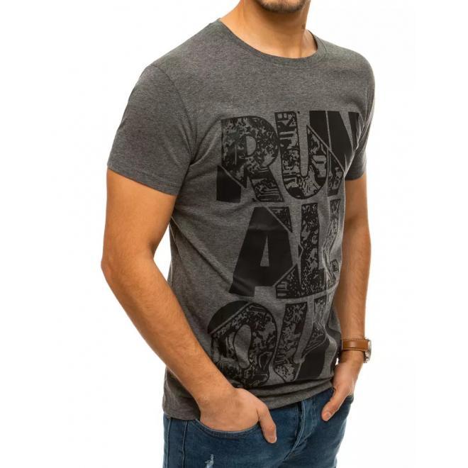 Tmavě šedé klasické tričko s potiskem pro pány