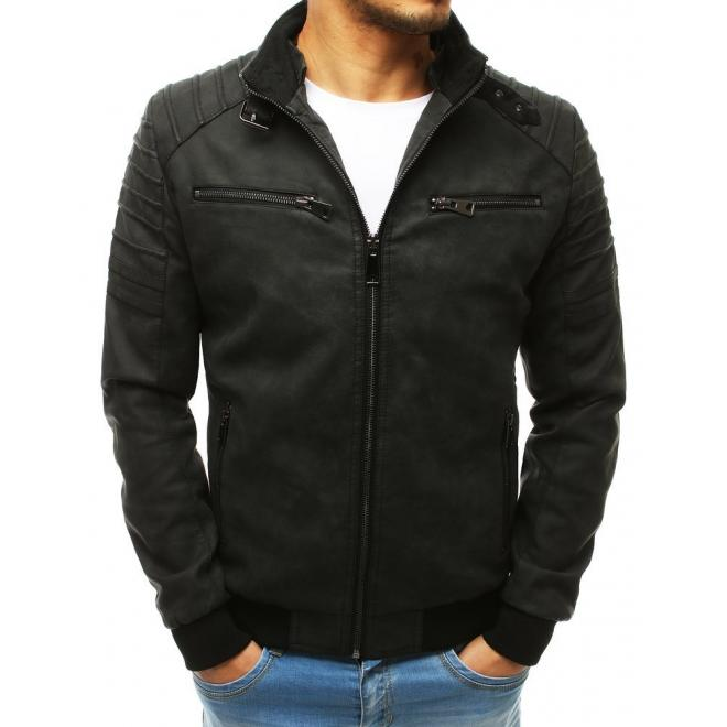 Kožená pánská bunda černé barvy na přechodné období