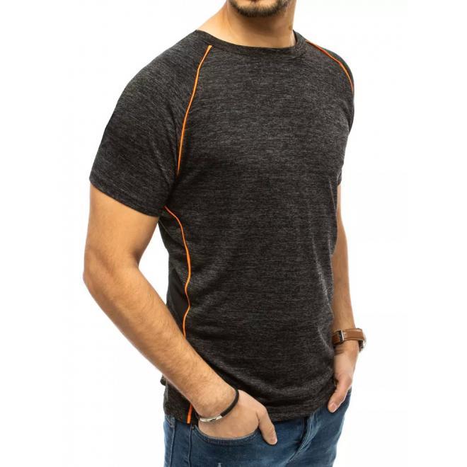 Pánské módní triko s ozdobným prošíváním v černé barvě