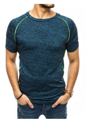 Módní pánské tričko modré barvy s ozdobným prošíváním