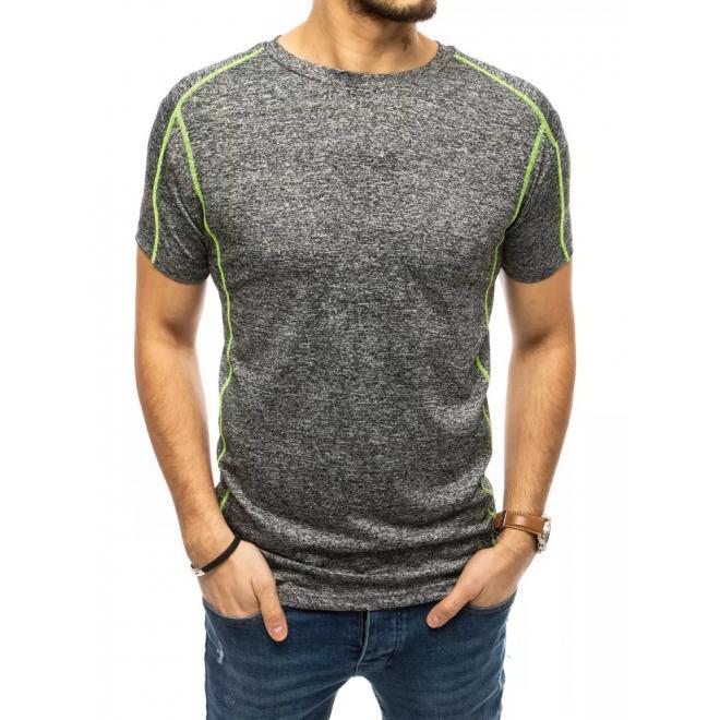 Tmavě šedé stylové tričko s kontrastním prošíváním pro pány