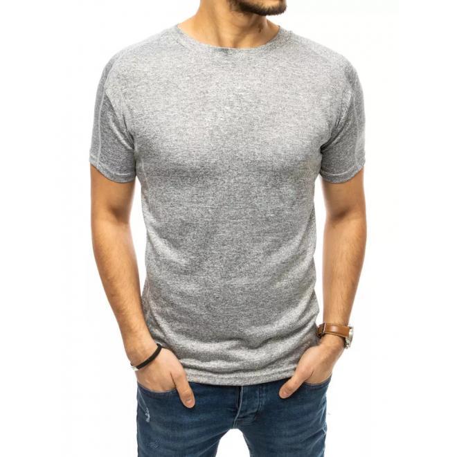Pánské stylové tričko s ozdobným prošíváním v světle šedé barvě