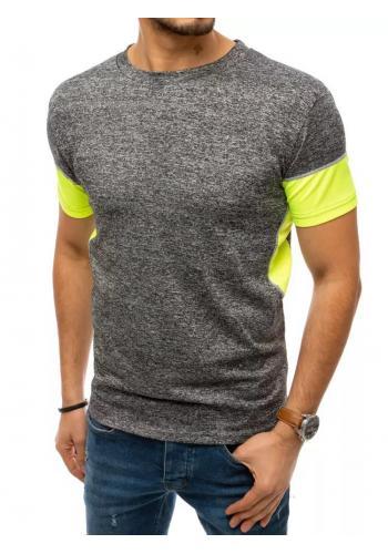 Pánské módní tričko s kontrastními vložkami v tmavě šedé barvě