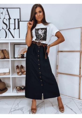 Dámská dlouhá sukně s knoflíky v černé barvě