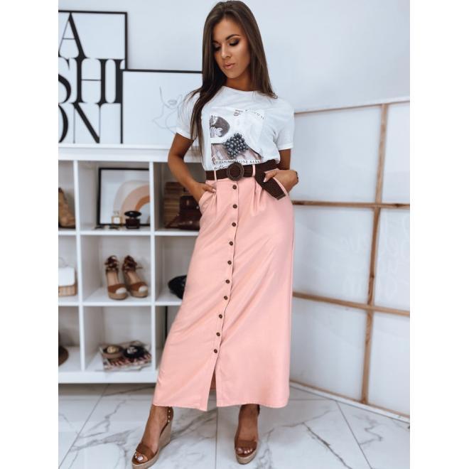 Dlouhá dámská sukně růžové barvy s knoflíky