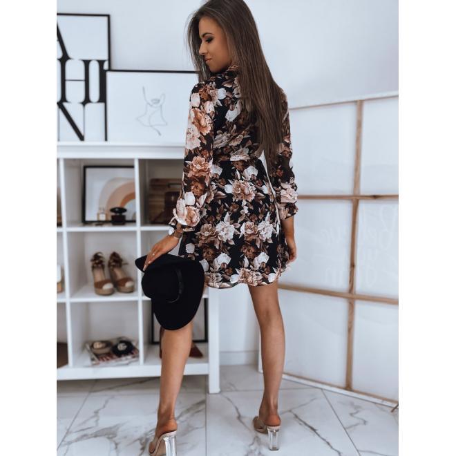 Dámské květované šaty s vázáním v pase v černé barvě