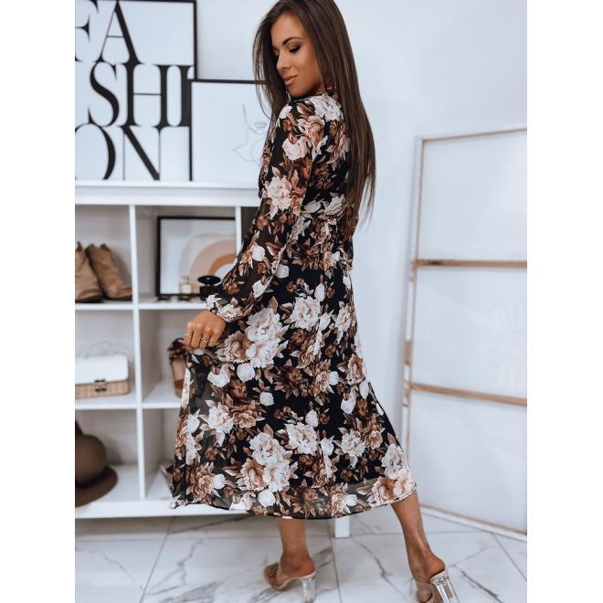 Dámské dlouhé květované šaty s vázáním v pase v černé barvě