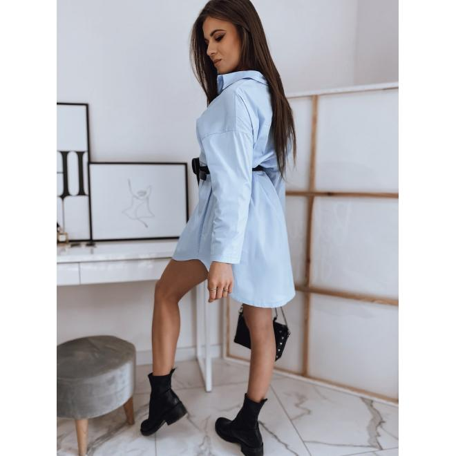 Košilové dámské šaty světle modré barvy s páskem