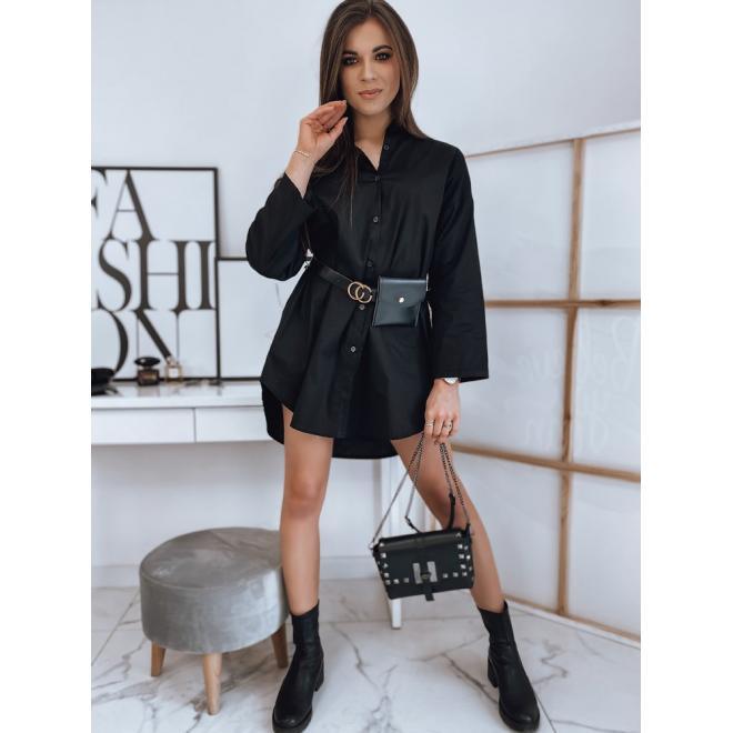 Košilové dámské šaty černé barvy s páskem