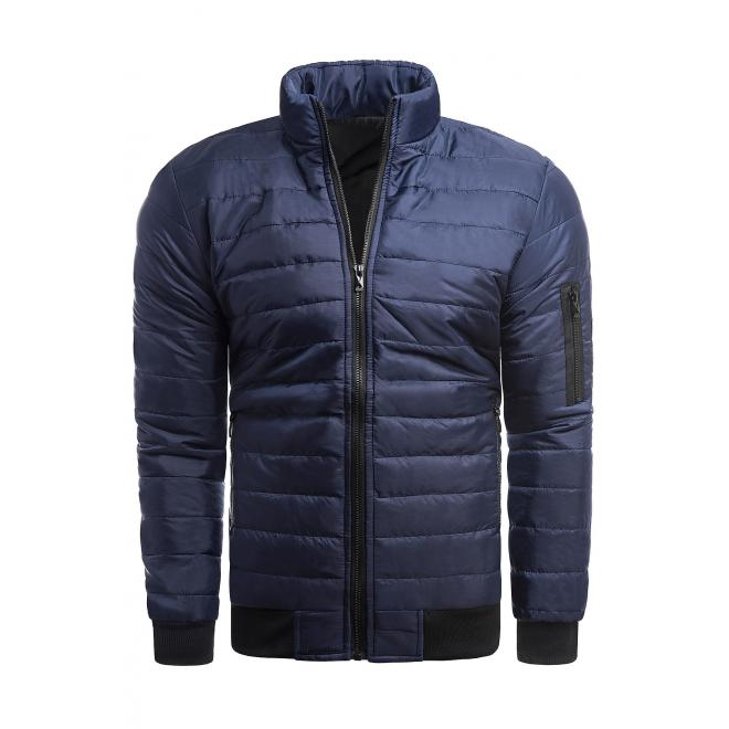 Pánská prošívaná bunda bez kapuce v tmavě modré barvě