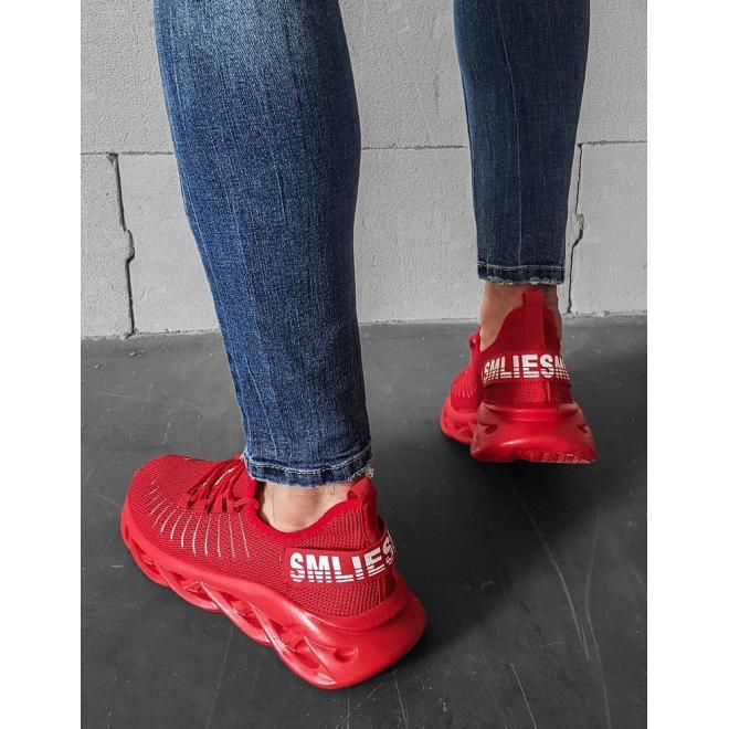 Pánské textilní tenisky s módní podrážkou v červené barvě