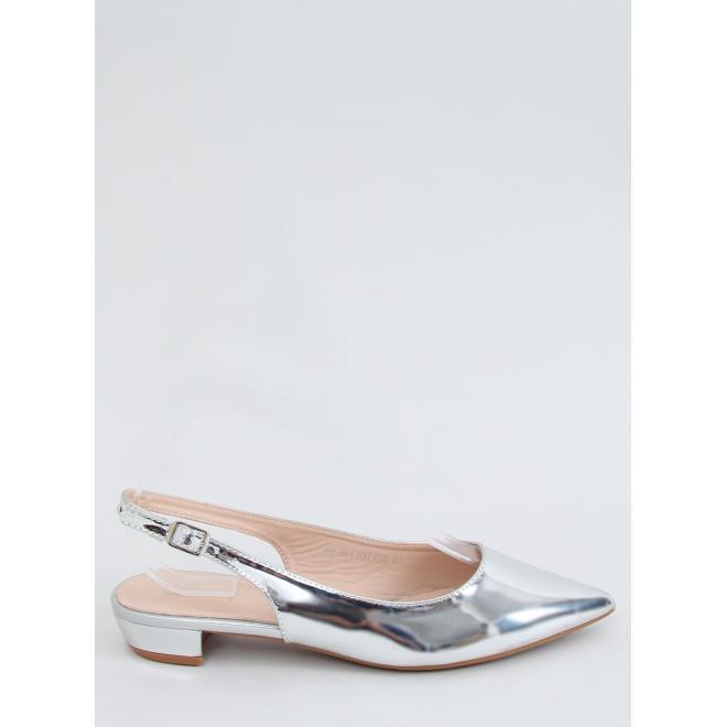 Dámské špičaté balerínky s otevřenou patou ve stříbrné barvě