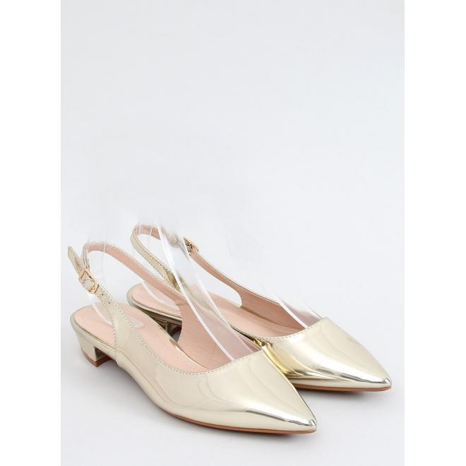 Špičaté dámské balerínky zlaté barvy s otevřenou patou