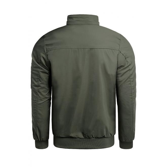 Jarní pánská bunda khaki barvy s potiskem na kapuci