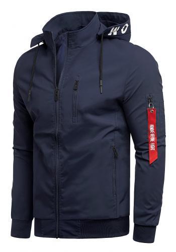 Pánské jarní bundy s potiskem na kapuci v tmavě modré barvě