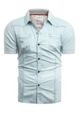 Světle modrá slim fit košile s krátkým rukávem pro pány