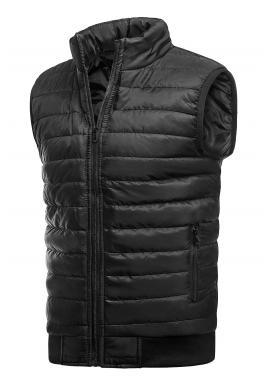 Pánská oteplená prošívaná vesta bez kapuce v černé barvě