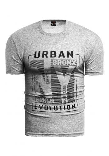 Pánské bavlněné tričko s potiskem v šedé barvě