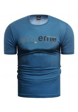 Modré klasické tričko s potiskem pro pány