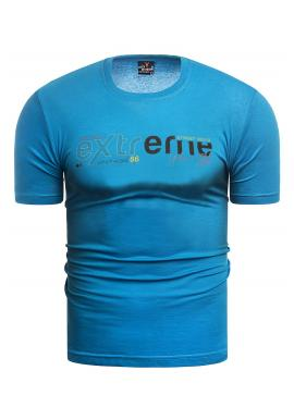 Pánské klasické tričko s potiskem v tyrkysové barvě