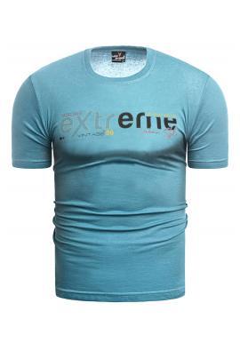 Světle modré klasické tričko s potiskem pro pány