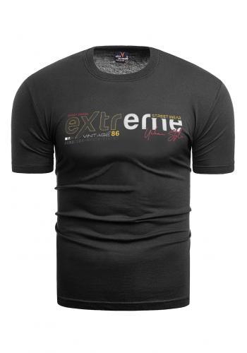 Pánské klasické tričko s potiskem v černé barvě