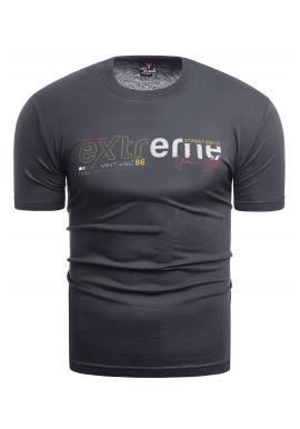 Klasické pánské tričko tmavě šedé barvy s potiskem
