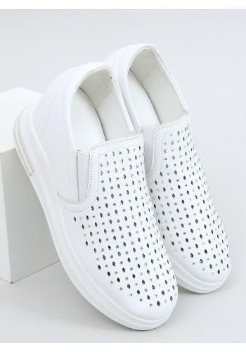 Bílé nazouvací tenisky na skrytém podpatku pro dámy
