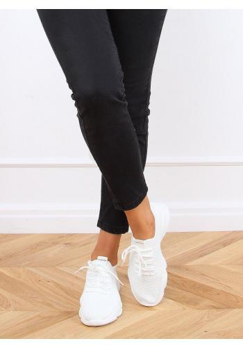 Dámské ponožkové tenisky s pružnou podrážkou v bílé barvě