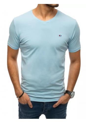 Světle modré módní tričko s véčkovým výstřihem pro pány