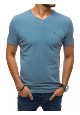 Pánské módní tričko s véčkovým výstřihem v modré barvě