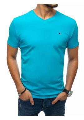 Módní pánské tričko tyrkysové barvy s véčkovým výstřihem
