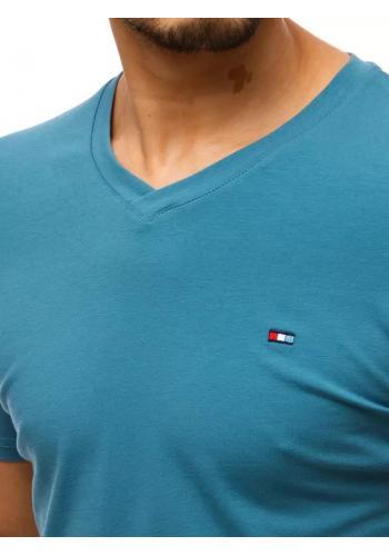 Modré módní tričko s véčkovým výstřihem pro pány