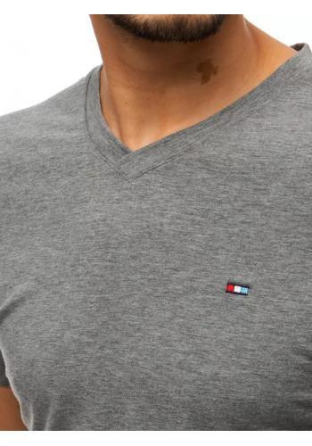 Pánské módní tričko s véčkovým výstřihem v tmavě šedé barvě