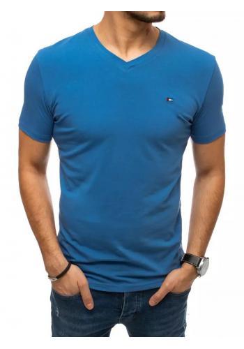 Módní pánské trička modré barvy s véčkovým výstřihem