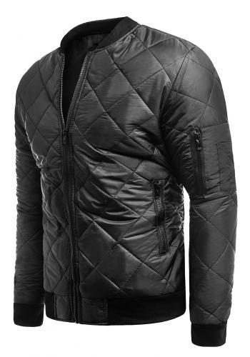 Černá prošívaná bunda na jaro pro pány ve výprodeji
