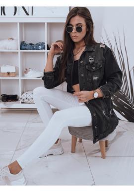 Riflová dlouhá dámská bunda černé barvy s dírami