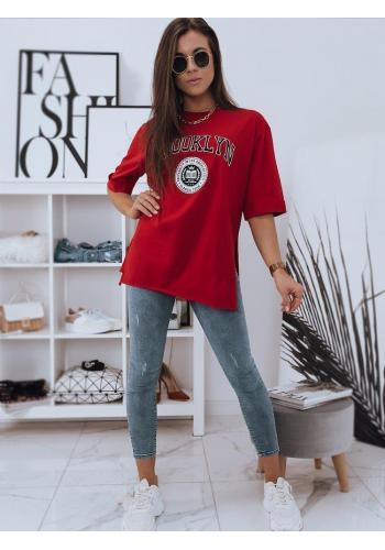 Oversize dámské tričko červené barvy s rozparky