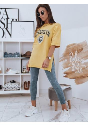 Žluté oversize tričko s rozparky pro dámy