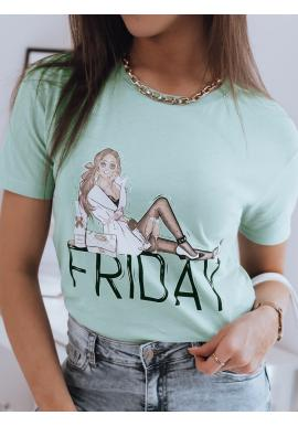 Zelené stylové tričko s potiskem pro dámy